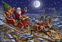 Santa Sleigh and Reindeer in Sky Fine-Art Print