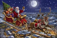 Santa Sleigh and Reindeer in Sky Fine-Art Print