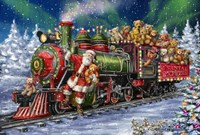 Santa Green /Red Train with toy bears Fine-Art Print
