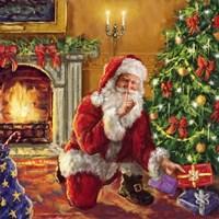 Santa at tree with present Fine-Art Print