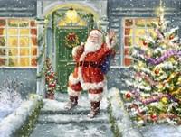 Santa on Steps with green door Fine-Art Print