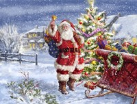 Santa ringing bell with Sleigh Fine-Art Print