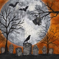 Something Wicked Graveyard I Hanging Bat Fine-Art Print