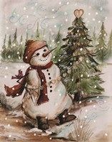Country Snowman I Fine-Art Print