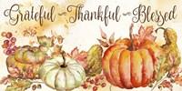 Watercolor Harvest Pumpkin Grateful Thankful Blessed Fine-Art Print