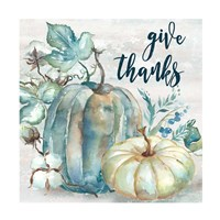 Blue Watercolor Harvest Square Give Thanks Fine-Art Print