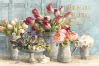 Marche des Fleurs Blue Gold Fine-Art Print