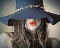 Vintage Fashion - Blue Hat Fine-Art Print