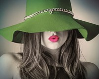 Vintage Fashion - Green Hat Fine-Art Print