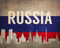 Moscow, Russia - Flags and Skyline Fine-Art Print