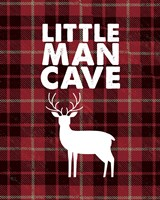 Little Man Cave - Deer Red Plaid Background Fine-Art Print
