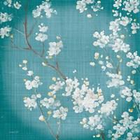 White Cherry Blossoms II on Teal Aged no Bird Fine-Art Print