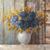 Fall Dahlia Bouquet Crop Blue Fine-Art Print