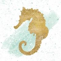Silver Sea Life Seahorse no Gold Splatter Fine-Art Print