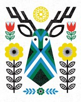 Folk Lodge Deer II Fine-Art Print