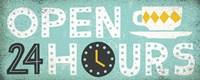 Retro Diner Open 24 Hours Panel Fine-Art Print