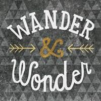 Mod Triangles Wander and Wonder Gold Framed Print