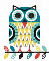 Folk Lodge Owl V2 Teal Fine-Art Print