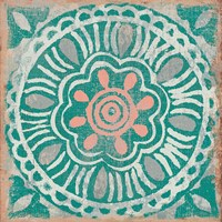 Ocean Tale Tile VI Coral Fine-Art Print