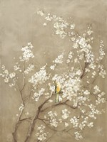 White Cherry Blossom I Neutral Crop Bird Fine-Art Print