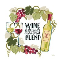 Wine and Friends V on White Fine-Art Print
