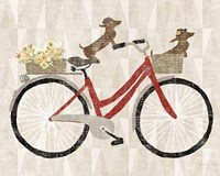 Doxie Ride ver I Red Bike Fine-Art Print