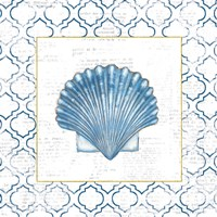 Navy Scallop Shell on Newsprint with Gold Fine-Art Print