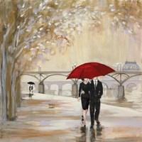 Romantic Paris III Red Umbrella Fine-Art Print