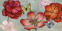 Flowers and Butterflies (Aqua) Fine-Art Print