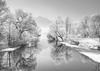 Winter landscape at Loisach, Germany (BW) Fine-Art Print