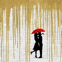 Romance in the Rain (Gold, detail) Fine-Art Print