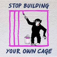 Chimp in Cage Fine-Art Print