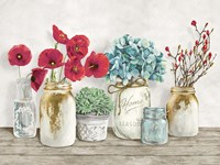 Floral Composition with Mason Jars Fine-Art Print
