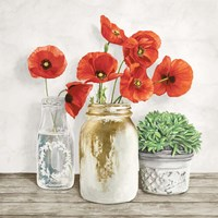 Floral Composition with Mason Jars II Fine-Art Print