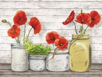 Poppies in Mason Jars (detail) Framed Print