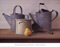 Watering Cans with Pear I Fine-Art Print