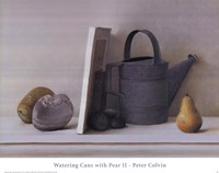 Watering Cans with Pear II Fine-Art Print