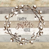 Family Gathers Here Cotton Wreath Fine-Art Print