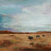 Buffalo Under Big Sky Red and Brown Fine-Art Print
