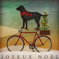 Black Lab on Bike Christmas Fine-Art Print