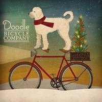 White Doodle on Bike Christmas Fine-Art Print