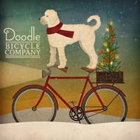 White Doodle on Bike Christmas Fine-Art Print