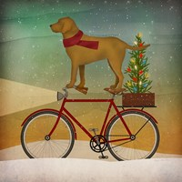 Yellow Lab on Bike Christmas Fine-Art Print