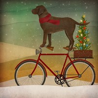 Brown Lab on Bike Christmas Fine-Art Print