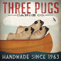 Three Pugs in a Canoe Fine-Art Print