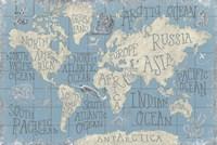 Mythical Map I Blue Fine-Art Print