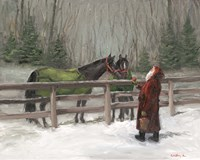 Santa with Horses Fine-Art Print