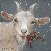 Goat with Holly Fine-Art Print