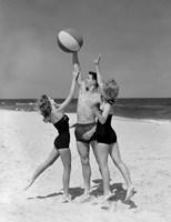 1950s Teens Jumping For Beach Ball Fine-Art Print