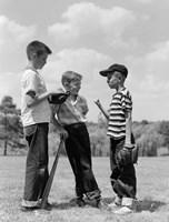 1950s Boys Baseball Holding Bat Fine-Art Print